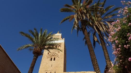 Koutoubia Minarett und Palmen
