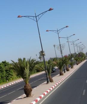 Marrakesch Straße mit Palmen
