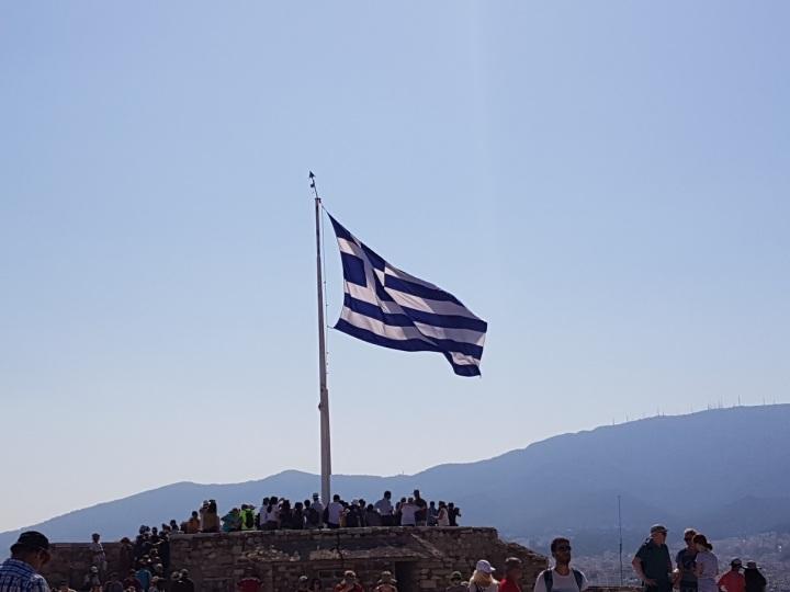 Fahne auf der Akropolis